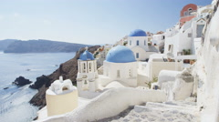 Santorini Oia Blue Domed Church Tourist Attraction Destination Landmark Stock Footage
