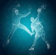 Abstract handball players in action. Crystal ice effect - stock illustration
