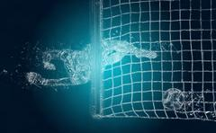 Abstract soccer goalkeeper misses a ball. Crystal ice effect - stock illustration