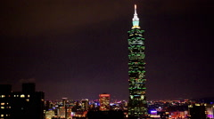 Taipei dowtown night view Stock Footage
