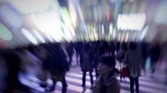 Pedestrian rush hour. Dreamy blurred artistic shot of people in city  Stock Footage
