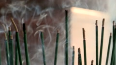 Atmosphere smoke incense burning in religious ceremony. Stock Footage