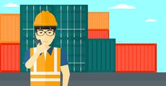 Stevedore standing on cargo containers background Stock Illustration