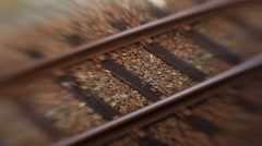 Train rails. View from outside rail road train Stock Footage