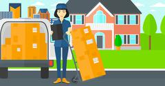 Woman delivering boxes - stock illustration