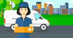 Woman delivering box - stock illustration