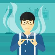 Man quit smoking Stock Illustration