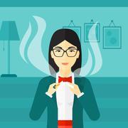 Woman quit smoking - stock illustration
