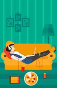 Woman lying on sofa with many gadgets - stock illustration