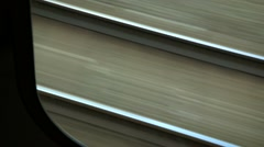 Looking out train window. Seeing trails moving at accelerated speed. Arkistovideo
