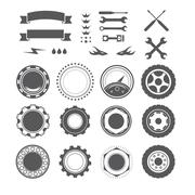 Set of logotype element for mechanic, garage, car repair, service Stock Illustration