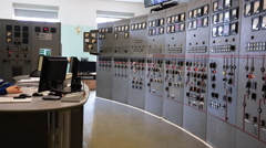 Control center of Narvskaya HPP Stock Footage