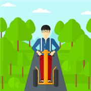 Man riding on electric scooter Stock Illustration
