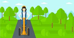 Woman riding on electric scooter - stock illustration