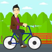 Stock Illustration of Man riding bicycle