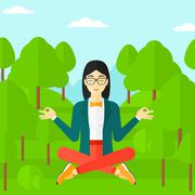 Business woman meditating in lotus pose - stock illustration