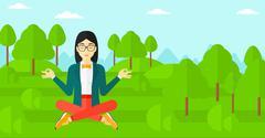 Business woman meditating in lotus pose Stock Illustration