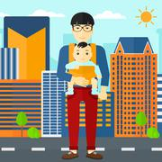 Man holding baby in sling Stock Illustration