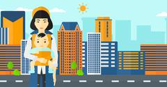 Woman holding baby in sling Stock Illustration