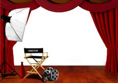 Director chair and equipment standby for audition on stage Stock Illustration