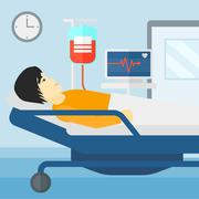 Patient lying in hospital bed - stock illustration