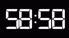 One minute count down to 0 60fps white digital clock Stock Footage
