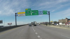 Memphis and Tulsa sign on Interstate 55 Stock Footage