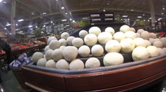Cantaloupes in grocery store Stock Footage