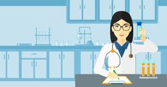 Laboratory assistant working - stock illustration