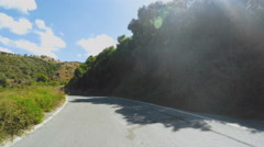 Driving on Mountain Road on Island Crete Greece Stock Footage