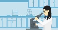 Laboratory assistant with microscope - stock illustration