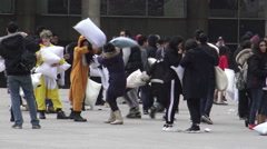 International Pillow Fight Day at Nathan Phillip's Square, Toronto Stock Footage