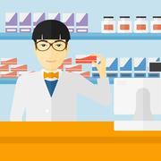 Pharmacist showing some medicine - stock illustration