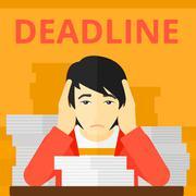 Man having problem with deadline Stock Illustration