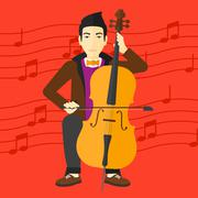 Man playing cello - stock illustration