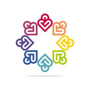 Abstract Logo Six Colorful Heart Love Design Vector Business - stock illustration