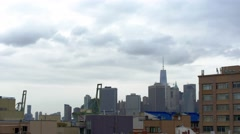 Clouds roll over Brooklyn and the downtown Manhattan skyline Stock Footage