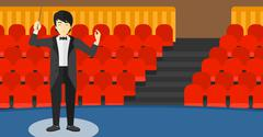 Conductor directing with baton Stock Illustration