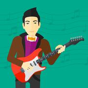 Musician playing electric guitar Stock Illustration