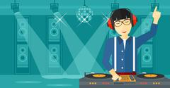 Smiling DJ with console - stock illustration