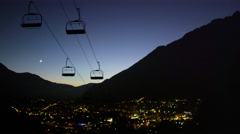 French Alps Chamonix, France Night Ski Lift 5K HD Stock Video Footage Stock Footage