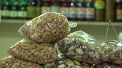 Close up of peanuts and nuts in organic market. Stock Footage