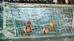 Water polo match , behind the goal  Stock Footage