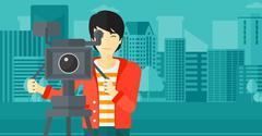 Cameraman with movie camera on a tripod - stock illustration