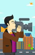 Cameraman with video camera - stock illustration