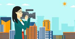Camerawoman with video camera Stock Illustration