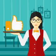 Waitress with like button - stock illustration