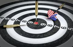 darts board with a dart in - stock photo