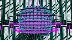 VJ Loop Neon Metal grid on fast Beat drop 128 ppm outlined w alpha channel Stock Footage
