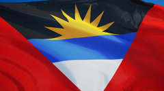 Antigua and Barbuda flag in slow motion seamlessly looped with alpha Stock Footage
